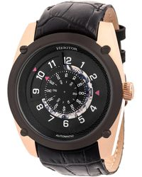 Heritor - Automatic Daniels Rose Gold & Black Leather Watches 43mm - Lyst