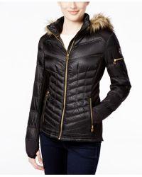 Michael Kors Michael Faux-fur-trim Mixed-media Puffer Coat - Black