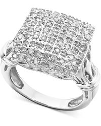 Macy's - Diamond Square Cluster Ring In 14k White Gold (1 Ct. T.w.) - Lyst