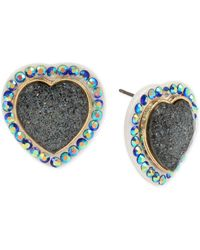 Betsey Johnson Glitter Stone Heart Stud Earrings - Blue