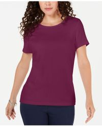 Karen Scott Solid T-shirt, Created For Macy's - Purple