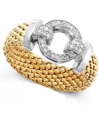 Macy's - Diamond Mesh And Circle Accent Ring In Vermeil And Sterling Silver (1/5 Ct. T.w.) - Lyst
