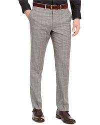 DKNY Slim-fit Stretch Light Gray Plaid Suit Pants