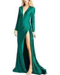 Mac Duggal Side-slit Gown - Green