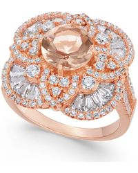 Macy's - Synthetic Morganite & Cubic Zirconia Filigree Floral Ring In 14k Rose Gold-plated Sterling Silver - Lyst