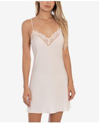 Linea Donatella Lace-trim Hammered Satin Chemise Nightgown - Pink