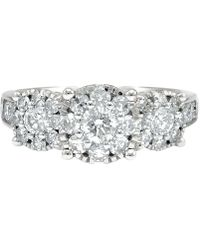 Macy's - Diamond Cluster Floral Ring (1-1/2 Ct. T.w.) In 14k White Gold - Lyst