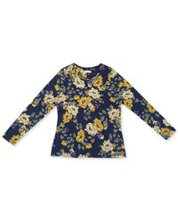 Charter Club Floral-print Top, Created For Macy's - Blue