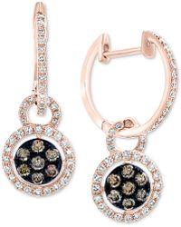 Effy Collection - Effy® Diamond Halo Dangle Hoop Earrings (5/8 Ct. T.w.) In 14k Rose Gold - Lyst