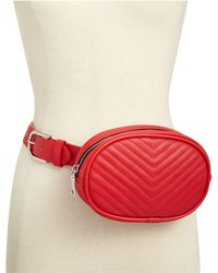 Steve Madden Chevron Quilted Fanny Pack - Red