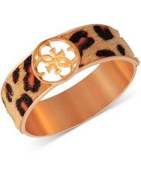 Guess Gold-tone Cheetah-print Faux-fur Animal Print Bangle Bracelet - Metallic