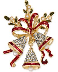 Charter Club - Gold-tone Pavé & Epoxy Bells And Ribbon Pin, Created For Macy's - Lyst