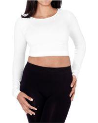 Skinnytees Long Sleeve Crop Top - White