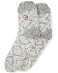 Dearfoams Fairisle Knit Flurry Slipper Sock, Online Only - Gray