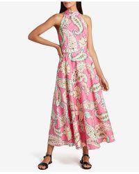 Tahari Mock-neck Printed Dress - Pink