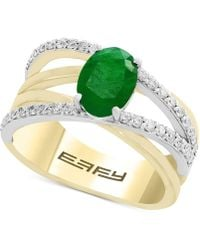 Effy Collection Final Call By Effy® Emerald (1-1/8 Ct. T.w.) & Diamond (1/3 Ct. T.w.) Crisscross Ring In 14k Gold & White Gold - Metallic