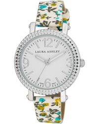 Laura Ashley Blue Floral Band Fluted Bezel Watch - Multicolor