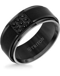 Triton 9mm Black Tungsten Carbide Step Edge Ring With 1/2 Cttw Black Sapphires