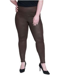 Seven7 Plus Size Tummy Toner Pull-on Coated Ponte Pants - Multicolor