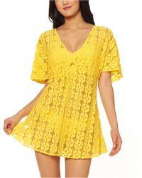 Jessica Simpson O-ring Crochet Swim Cover-up Dress - Yellow