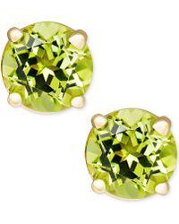 Macy's - Peridot Stud Earrings In 14k Gold (1 Ct. T.w.) - Lyst