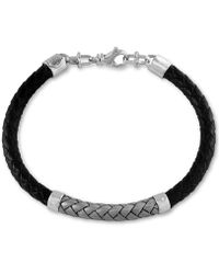 Effy Collection | Men's Woven Bracelet In Leather And Stainless Steel | Lyst