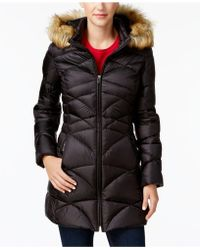 Jones New York | Faux-fur-trim Quilted Down Puffer Coat | Lyst