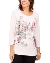 Karen Scott Romance Ride Graphic 3/4-sleeve Top, Created For Macy's - Pink