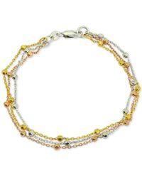 Giani Bernini - Tricolor Beaded Bracelet In Sterling Silver, 18k Gold-plate & 18k Rose Gold-plate, Created For Macy's - Lyst