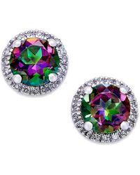Macy's - Mystic Topaz (1-4/5 Ct. T.w.) And Diamond (1/8 Ct. T.w.) Round Stud Earrings In 14k White Gold - Lyst