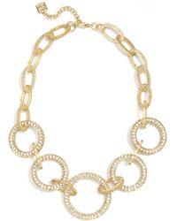 "Zenzii Crystal Circle Link Collar Necklace, 19"" + 2"" Extender - Metallic"