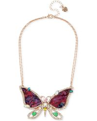 "Betsey Johnson - Rose Gold-tone Crystal & Stone Butterfly Pendant Necklace, 15"" + 3"" Extender - Lyst"