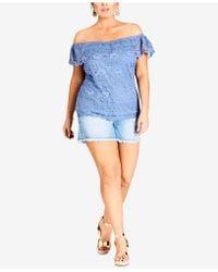 City Chic - Trendy Plus Size Off-the-shoulder Lace Top - Lyst