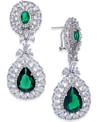 Joan Boyce | Silver-tone Double Teardrop Crystal Drop Earrings | Lyst