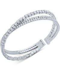 Anne Klein - Crystal Crisscross Coil Cuff Bracelet - Lyst