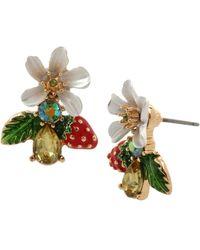 Betsey Johnson Strawberry Cluster Earrings - Multicolor