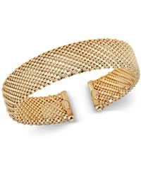 Macy's - Mesh-look Wide Bangle Bracelet In 14k Gold-plated Sterling Silver - Lyst