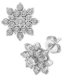 Macy's - Diamond Cluster Stud Earrings (1/10 Ct. T.w.) In Sterling Silver - Lyst