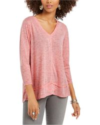 Style & Co. V-neck Top, Created For Macy's - Pink