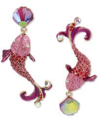 Betsey Johnson - Crystal Fish Mismatch Earrings - Lyst