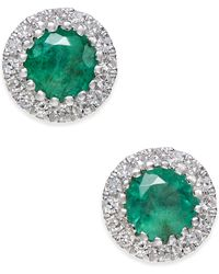Macy's - Emerald (5/8 Ct. T.w.) And Diamond (1/10 Ct. T.w.) Stud Earrings In 14k White Gold - Lyst