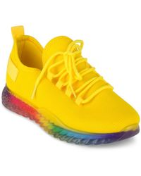 Wanted Affinity Lace Up Rainbow Sole Sneakers - Yellow