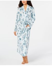 Charter Club Cotton Floral-print Robe, Created For Macy's - Blue