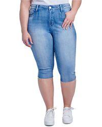 Seven7 Plus Size High Rise Breezy Crop Jeans - Blue