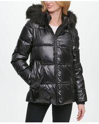 DKNY High-shine Faux-fur Trim Hooded Puffer Coat - Black