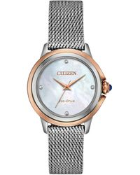 Citizen - Ceci Diamond-accent Stainless Steel Mesh Bracelet Watch 32mm - Lyst
