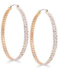 Guess - Gold-tone Crystal Hoop Earrings - Lyst