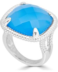 Macy's - Blue Agate Twist Frame Statement Ring In Sterling Silver - Lyst
