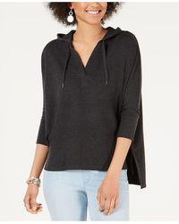 Style & Co. Hoodie 3/4-sleeve Top, Created For Macy's - Black