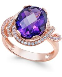 Macy's - Amethyst (4-1/4 Ct. T.w.) And White Topaz (1/3 Ct. T.w.) Ring In 14k Rose Gold-plated Sterling Silver - Lyst